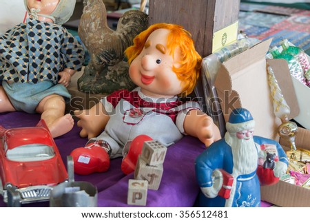 MOSCOW, RUSSIA - DECEMBER 27, 2015: Antique Swap Meet at Danilovsky market, Moscow.