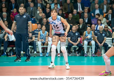 MOSCOW, RUSSIA - DECEMBER 2, 2015: Antonella Del Kore (Dynamo (KZN) 15, while playing on women's Rissian volleyball Championship game Dynamo (MSC) vs Dynamo (KZN) at the Luzhniki Moscow, Russia - stock photo