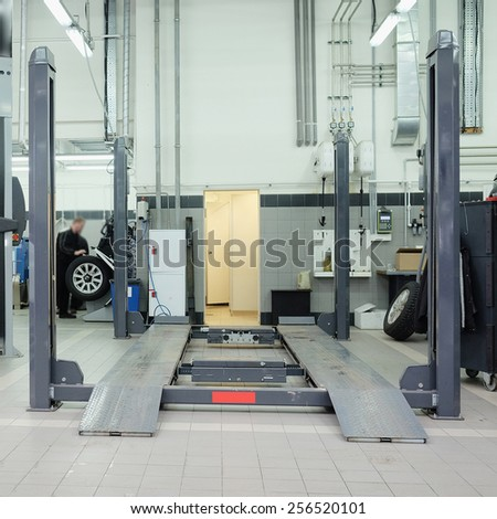 Moscow, Russia, December, 3, 2014: Cars in a car-repair center in Moscow, Russia - stock photo