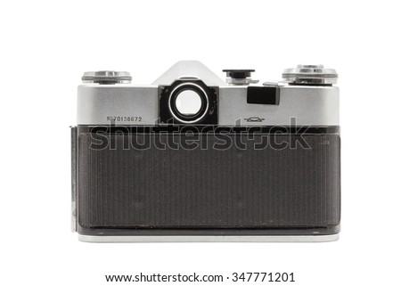 MOSCOW/RUSSIA - DECEMBER , 2015; Illustrative Editorial old soviet film camera Zenit - V, isolated on white background. Soviet reflex camera, produced from 1968 - 1973. Back side view