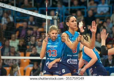 MOSCOW, RUSSIA - DECEMBER 2, 2015: N. Obmochaeva (Dynamo (MSC) 8 while playing on women's Rissian volleyball Championship game Dynamo (MSC) vs Dynamo (KZN) at the Luzhniki stadium in Moscow, Russia - stock photo