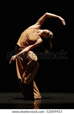 MOSCOW, RUSSIA - DECEMBER 11: Parsons Dance dancer  ABBY SILVA  carries out show during its Russia  tour. December 11, 2009 in Moscow, Russia. - stock photo