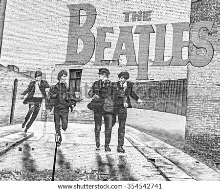 MOSCOW, RUSSIA - DECEMBER 5, 2015: The Beatles graffiti on the wall in Moscow. Mytnaya street. FILTER: SILVER EFEX PRO 2. - stock photo