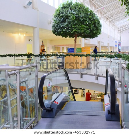 Moscow, Russia, December, 28, 2014: The escalator in the shopping center Mega on December, 28, 2014 - stock photo