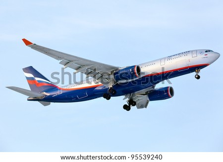 MOSCOW, RUSSIA - FEB 11: Airbus A330 landing in Moscow airport FEB 11, 2012 in Moscow, Russia. Aeroflot operates domestic and international passenger services to 97 cities in 48 countries and uses a fleet of 94 aircraft