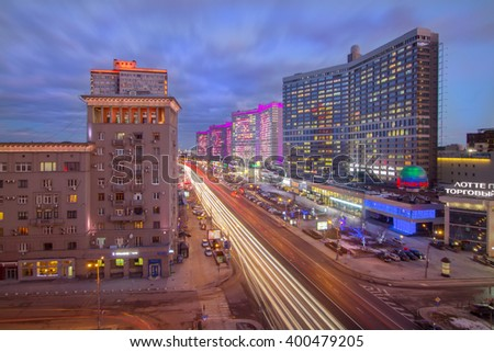 MOSCOW, RUSSIA - FEB 4, 2016: (long exposure)Night Highway New Arbat, was built in 1963 - stock photo
