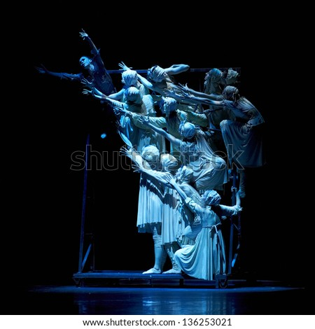 "MOSCOW, RUSSIA - FEB 19: Show of Boris Eifman ballet ""Rodin"" during Golden Mask contest. February 19, 2013 in Moscow, Russia. - stock photo"