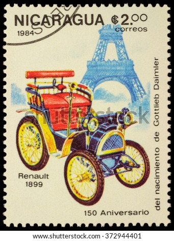 """MOSCOW, RUSSIA - FEBRUARY 06, 2016: A stamp printed in Nicaragua shows first car Renault (1899), series """"The 150th Anniversary of the Birth of Gottlieb Daimler, 1834-1900 - Vintage Cars"""", circa 1984 - stock photo"""