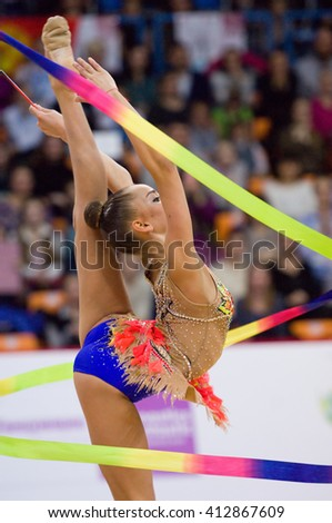 MOSCOW, RUSSIA - FEBRUARY 20, 2016: Arina Averina, Russia, clubs, on Rhythmic gymnastics Alina Cup Grand Prix Moscow - 2016 on February 20, 2016, in Moscow, Russia - stock photo