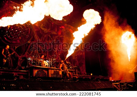 MOSCOW, RUSSIA - FEBRUARY 10, 2012: German heavy-metal band Rammstein performing live at Olimpiysky Stadium - stock photo