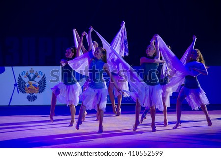 MOSCOW, RUSSIA - FEBRUARY 21, 2016: Moscow team by Rhythmic gymnastics, Russia at the gala concert Grand Prix Moscow - 2016 in Moscow sport palace Luzhniki, Russia