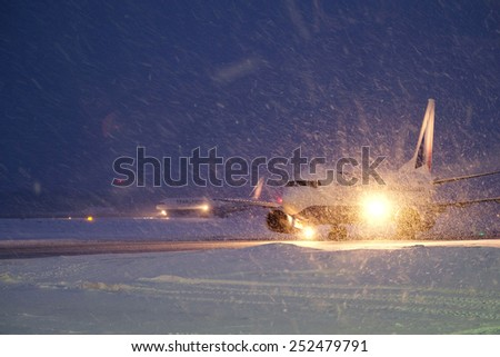 Moscow, Russia, February, 09,2015: plane on the runway preparing for take-off