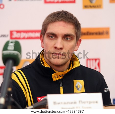 """MOSCOW, RUSSIA - FEBRUARY 23: Russia racing driver, pilot of Renault F1 Team Vitaly Petrov during the press conference on 21st traditional """"Race Stars""""Za rulyom"""", February 23, 2010 in Moscow, Russia. - stock photo"""