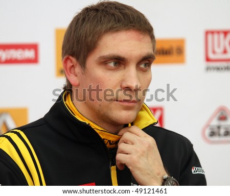"MOSCOW, RUSSIA - FEBRUARY 23: Russia racing driver, pilot of Renault F1 Team Vitaly Petrov during the press conference on 21st traditional ""Race Stars""Za rulyom"", February 23, 2010 in Moscow, Russia."