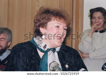 Moscow, Russia - February 20, 1992: Russian pilitician Galina Vasilyevna Starovoitova at her press-conference