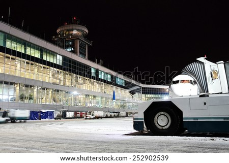 Moscow, Russia, February, 09,2015: terminal of Domodedovo airport - stock photo