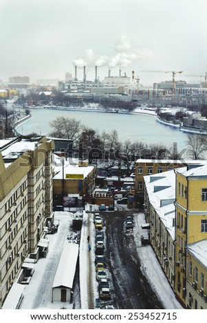 MOSCOW, RUSSIA - FEBRUARY 9, 2015: Very snowing day in Moscow, view of Moscow-river