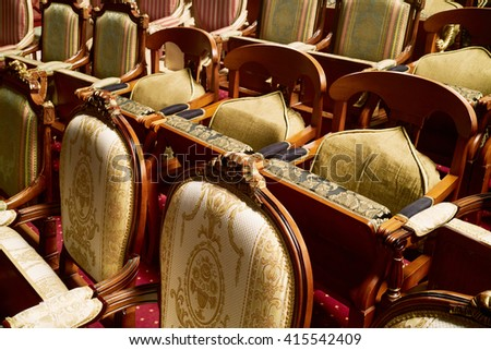 MOSCOW, RUSSIA - JAN 15, 2015: Armchairs in auditorium of Moscow theatre Et Cetera. Theatre has two auditoriums - for  525 seats and for 150 seats. - stock photo