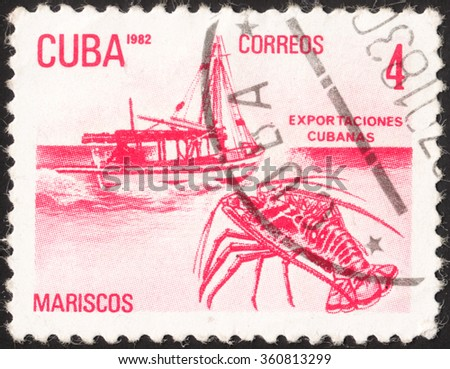 """MOSCOW, RUSSIA - JANUARY, 2016: a post stamp printed in CUBA shows a boat and a lobster (Mariscos), the series """"Exports"""", circa 1982 - stock photo"""