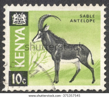 """MOSCOW, RUSSIA - JANUARY, 2016: a post stamp printed in KENYA shows a sable antelope (Hippotragus niger), the series """"Mammals"""", circa 1966 - stock photo"""