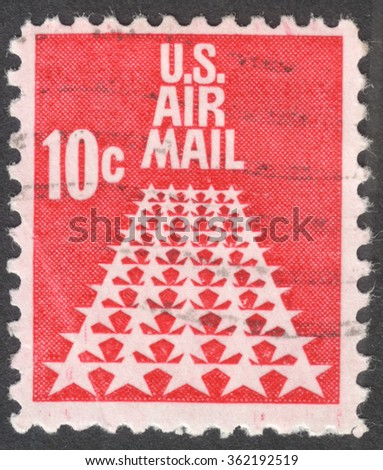 """MOSCOW, RUSSIA - JANUARY, 2016: a post stamp printed in the USA shows fifty stars as a runway, the series """"Air Mail"""", circa 1968 - stock photo"""