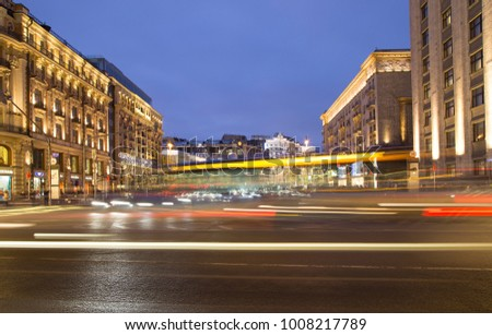 MOSCOW, RUSSIA - JANUARY 12, 2018: Christmas and New Year holidays illumination and Traffic of cars in Moscow city center (Tverskaya Street near the Kremlin) at night, Russia