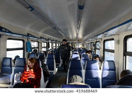 MOSCOW, RUSSIA - JANUARY 29, 2014: Police in the carriage commuter trains.
