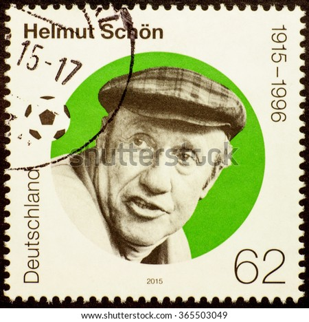MOSCOW, RUSSIA - JANUARY 20, 2016: stamp printed in Germany shows portrait of Helmut Schoen - great German football player and coach, devoted to the 100th  Anniversary of his Birth, circa 2015 - stock photo