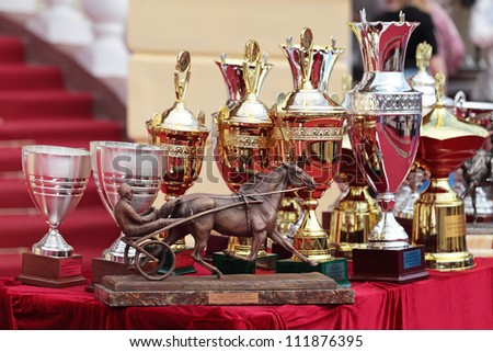 MOSCOW, RUSSIA - JUL 07: The races for the prize of the President of the Russian Federation on Jul 07, 2012 in Moscow. The prize of the Orlovsky Trotter horse breeding