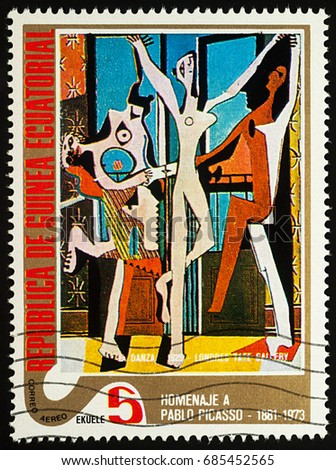 "Moscow, Russia - July 27, 2017: A stamp printed in Equatorial Guinea, shows painting Dancer by Pablo Picasso, series ""Picasso: Abstract paintings"", circa 1975"