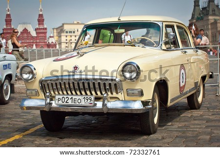 MOSCOW,RUSSIA-JULY 10: GAZ Volga (vintage car USSR)  is on display at the start annual Rally of classical cars Zolotoe kol'co on Red Square, on July 10, 2010 in Moscow, Russia - stock photo