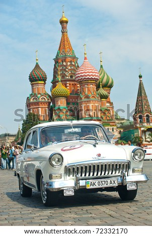 MOSCOW,RUSSIA-JULY 10: GAZ Volga (vintage car USSR)  is on start at the start annual Rally of classical cars Zolotoe kol'co on Red Square, on July 10, 2010 in Moscow, Russia - stock photo
