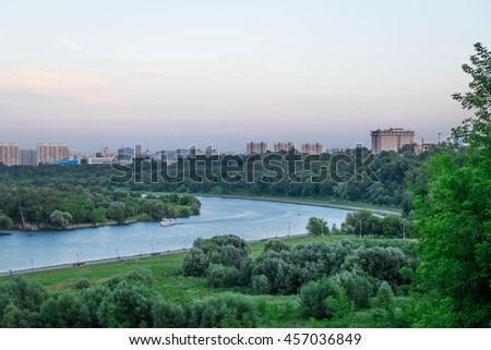 MOSCOW, RUSSIA - JULY 16, 2016: Moscow river in Kolomenskoe park