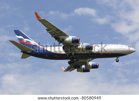 MOSCOW, RUSSIA - JULY 01: Plane IL96 landing in Moscow airport July,1 2011.Aeroflot operates domestic and international passenger services to 97 cities in 48 countries  and uses a fleet of 94 aircraft