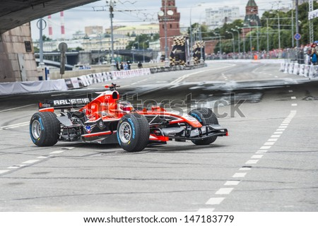 MOSCOW, RUSSIA - JULY 21: Professional Formula 1 Marussia driver Max Chilton in Moscow City Racing Circle, Moscow on 21 July 2013,  - stock photo