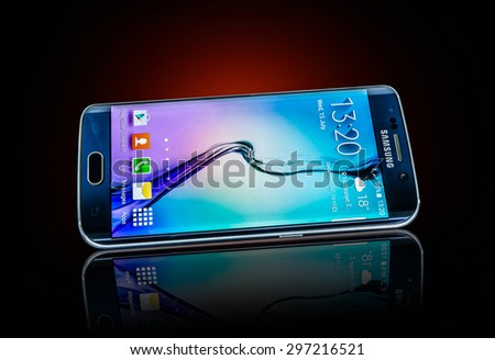 MOSCOW, RUSSIA- JULY 15, 2015: Samsung Galaxy S6 Edge. Android smartphones manufactured and marketed by Samsung Electronics. Illustrative editorial only. - stock photo