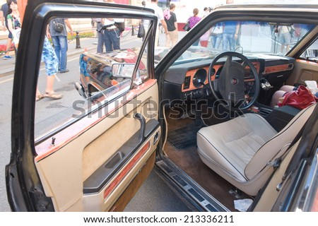 MOSCOW, RUSSIA - July 26, 2014 : Soviet car Chaika GAZ-14 retro rally Gorkyclassic, GUM, Moscow, view of the driver's seat