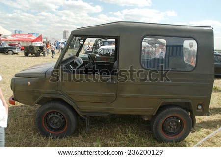"""MOSCOW, RUSSIA -  July 8, 2005: Soviet retro car LUAZ-969 """"Volyn"""" (hard top) at the exhibition Autoexotics, Moscow, Tushino, the cab interior, side view - stock photo"""