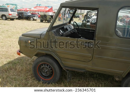 """MOSCOW, RUSSIA -  July 8, 2005: Soviet retro car LUAZ-969 """"Volyn"""" (hard top) at the exhibition Autoexotics, Moscow, Tushino, the cab interior, detail - stock photo"""