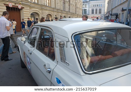 "MOSCOW, RUSSIA - July 26, 2014:  Soviet retro GAZ-24 ""Volga"" retro rally Gorkyclassic about Gum, Moscow, fragment"
