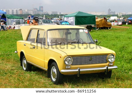 MOSCOW, RUSSIA - JULY 10: Soviet vehicle VAZ-2101 (Zhiguli) exhibited at the annual International Motor show Autoexotica on July 10, 2010 in Moscow, Russia. - stock photo