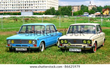 MOSCOW, RUSSIA - JULY 10: Soviet vehicles VAZ-2103 and VAZ-2106 (Zhiguli) exhibited at the annual International Motor show Autoexotica on July 10, 2010 in Moscow, Russia. - stock photo