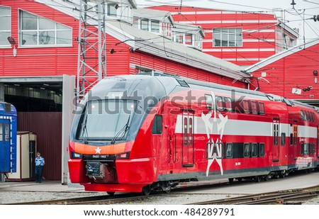 "MOSCOW, RUSSIA - JULY 30, 2015: Train ES2-002 Stadler KISS RUS (AERO) ""Eurasia"" in depot of a name of Ilyich. The train is designed in Switzerland, built in Belarus for use in Moscow as Aeroexpress"