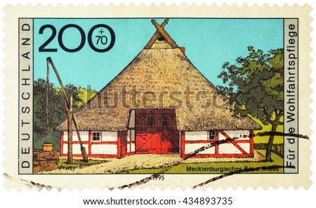 "MOSCOW, RUSSIA - JUNE 10, 2016: A stamp printed in Germany shows Mecklenburgisches farmhouse, series ""Charity Stamps - Farmhouses"", circa 1995"