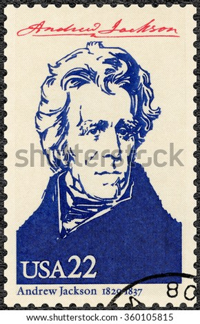 MOSCOW, RUSSIA - JUNE 04, 2015: A stamp printed in USA shows portrait Andrew Jackson (1767-1845), seventh President of the USA, series Presidents of USA, 1986 - stock photo