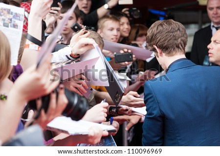 "MOSCOW, RUSSIA-JUNE, 15: Actor Andrew Garfield. Premiere of the movie ""The Amazing Spider-Man"", June,15, 2012 at October cinema in Moscow, Russia - stock photo"