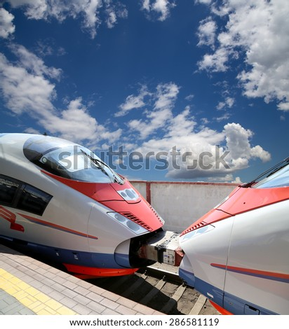 MOSCOW, RUSSIA - JUNE, 03 2015: Aeroexpress Train against the sky-- high-speed train for use on the Russian high-speed railways  - stock photo