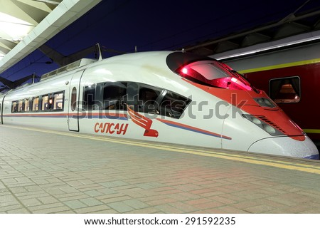 "MOSCOW, RUSSIA - JUNE, 05 2015: Aeroexpress Train Sapsan at the Leningrad station (night). Moscow, Russia -high-speed train acquired OAO ""Russian Railways"" for use on the Russian high-speed railways -"