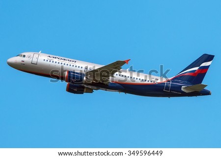 Moscow, Russia - June 15, 2013: Airbus A320 Aeroflot VP-BID take off at the Moscow Sheremetyevo International airport.