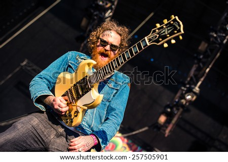 MOSCOW, RUSSIA - JUNE 29, 2014 - American heavy metal band Mastodon performing live at Park Live festival at at the National Exhibition Centre on June 29, 2014 in Moscow, Russia - stock photo